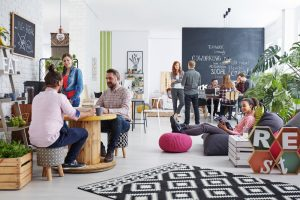 Co-working in shared office space